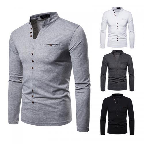 Bulk wholesale fashion new design polyester slim v neck casual men long sleeve t shirt 248060 фото
