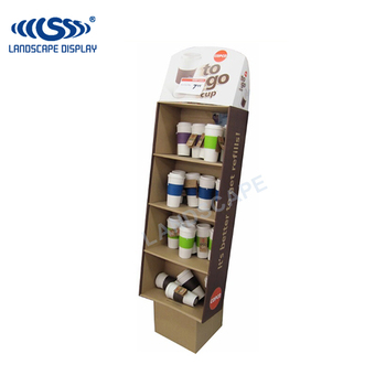 Customized Cardboard Display Rack For Plastic Cups Paper Display Cool Coffee Cup Display Stands