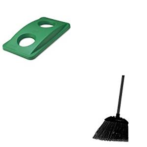 KITRCP269288GNRCP637400BLA - Value Kit - Rubbermaid Green Bottle amp; Can Recycling Top For Slim Jim Waste Containers (RCP269288GN) and Rubbermaid-Black Brute Angled Lobby Broom (RCP637400BLA)