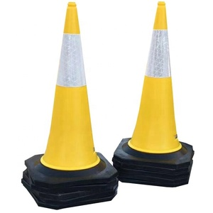 Custom Color Yellow PE rubber base traffic road cone