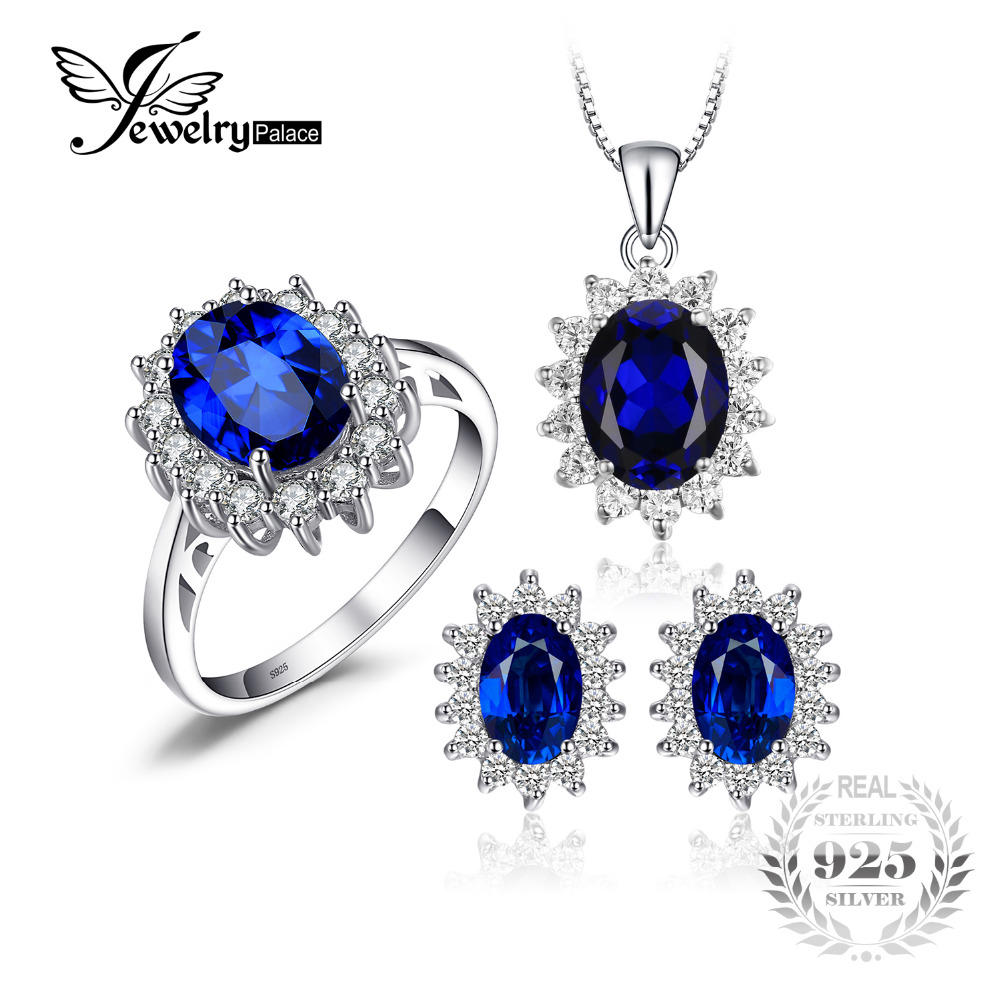 Synthetic Oval Blue Sapphire Jewelry Sets Engagement Anniversary 925 Sterling Silver From JewelryPalace фото