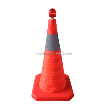 USB Port Chargeable Led Colored Light Flashing Portable Collapsible Traffic Cone