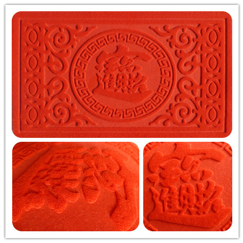 Soft red embossing area rug