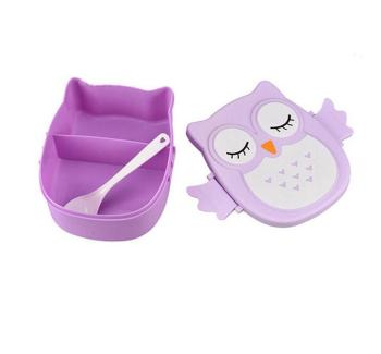 Promotional plastic cartoon owl shape lunch box for kids