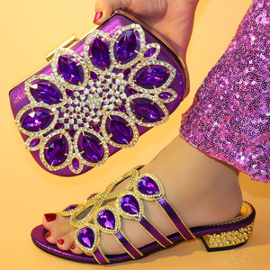 Low Heel purple Italian shoes and bag set African Shoes set Latest Nigerian Party Shoes to match bag set
