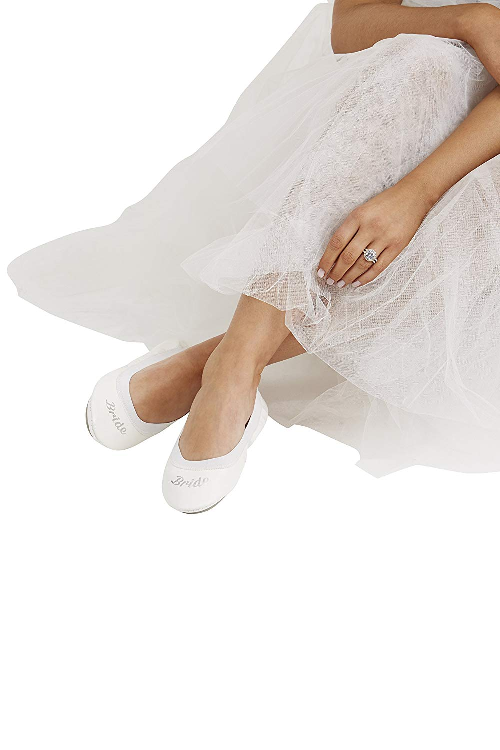 5a3246dc2 Get Quotations · White Bride Fold up Ballet Flats-White Foldable Shoes with  Bride Print-Cute Purse