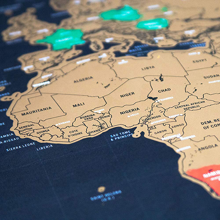 2019 best selling paper black world map to scratch