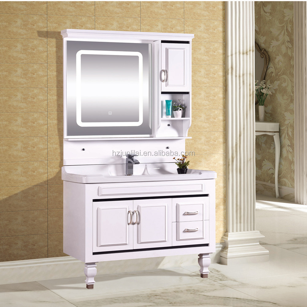 PVC cabinet bathroom vanity cabinet with LED mirror cheaper bathroom vanities