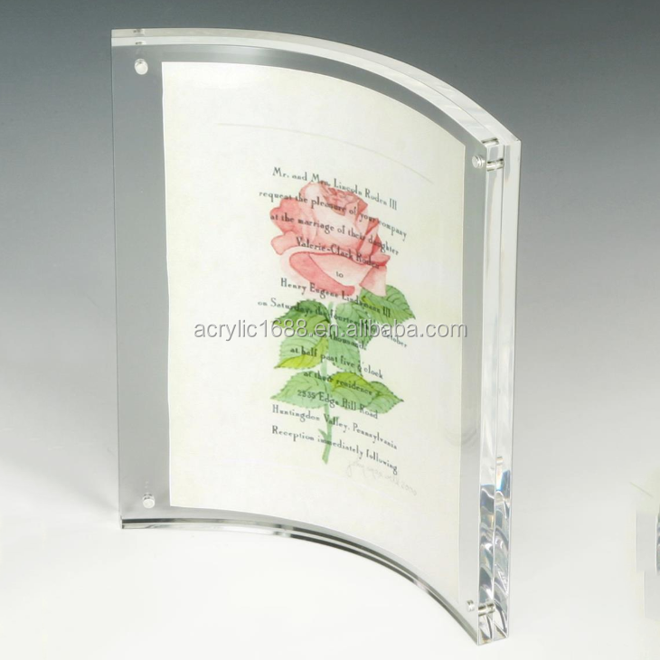 4x6 Transparent curved acrylic photo frame magnetic/unique photo frame