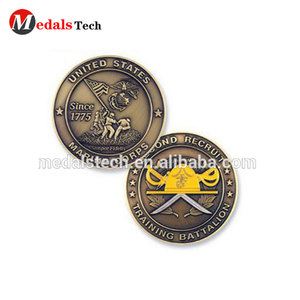 Wholesale bronze plated round metal stamping marine challenge coin for sale