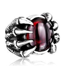 Стальная солдатская Высокая Qiuality тяжелая металлическая коготь дракона кольцо CZ Циркон преувеличенная Личность ювелирные изделия(Китай)