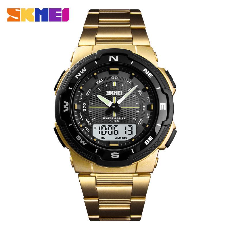 2019 New Relojes Hombre SKMEI Brand Sports Dual Time Clock Luxury Stainless Steel Waterproof Quartz Digital Men Wrist Watch 1370