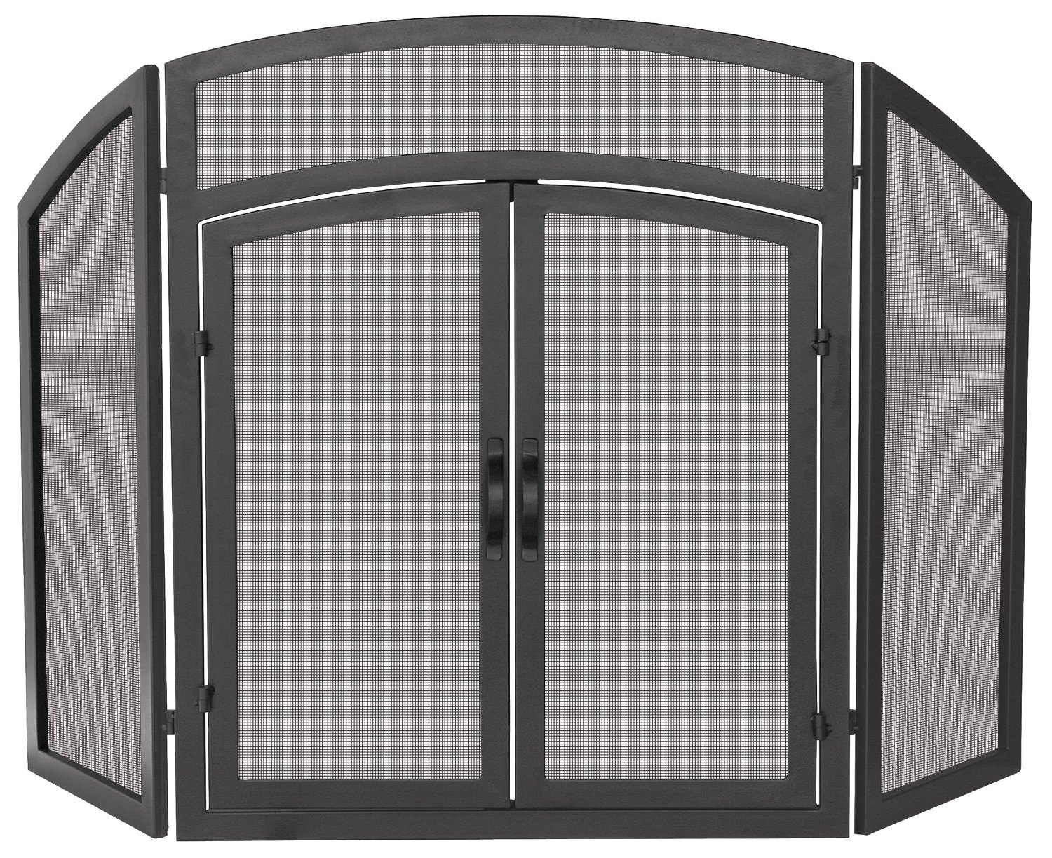 UniFlame 3-Fold Black Wrought Iron Arch Top with Doors