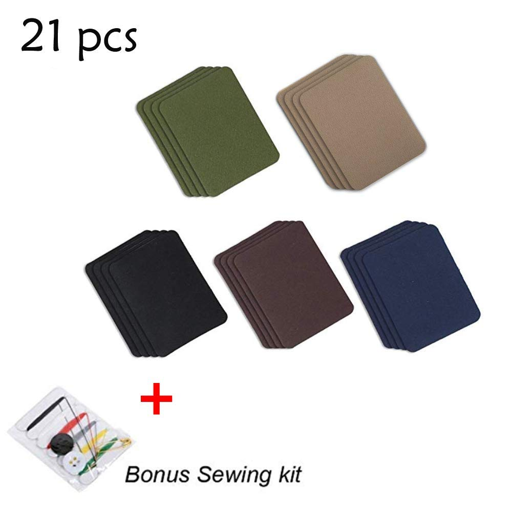 Iron on Patches for Jeans, Anicle 20 Pcs 5 Colors Iron On Sew On Denim Patches Appliques for DIY Clothing Jeans Jackets Bags Skirt T-Shirt Scar Hat Embroidered Iron-on Repair Kit + Bonus Sewing Kit