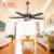 Modern classical indoor big living room 5 Leaves 56'' remote control ceiling fan with light