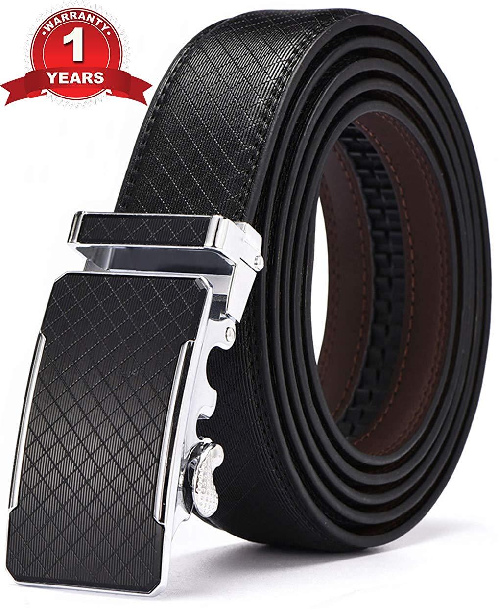Men/'s Genuine Leather Ratchet Automatic Dress Belt By Greach Man Black