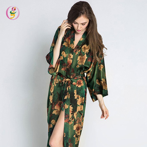 flowers screen printing sexy night robe chinese stain Kimono night robe