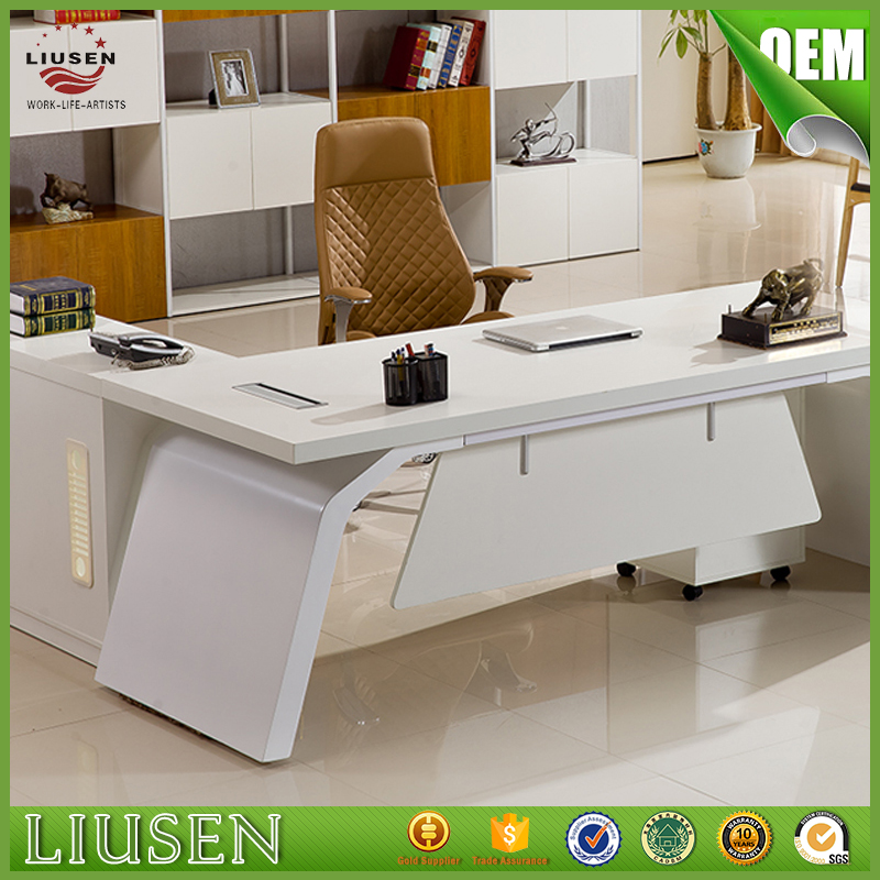 Reasonable prices good price CEO furniture high gloss white office desk