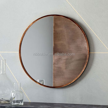 Whole Large Antique Copper Metal Frame Round Wall Hanging Mirror For Home Bathroom Living Room Decoration