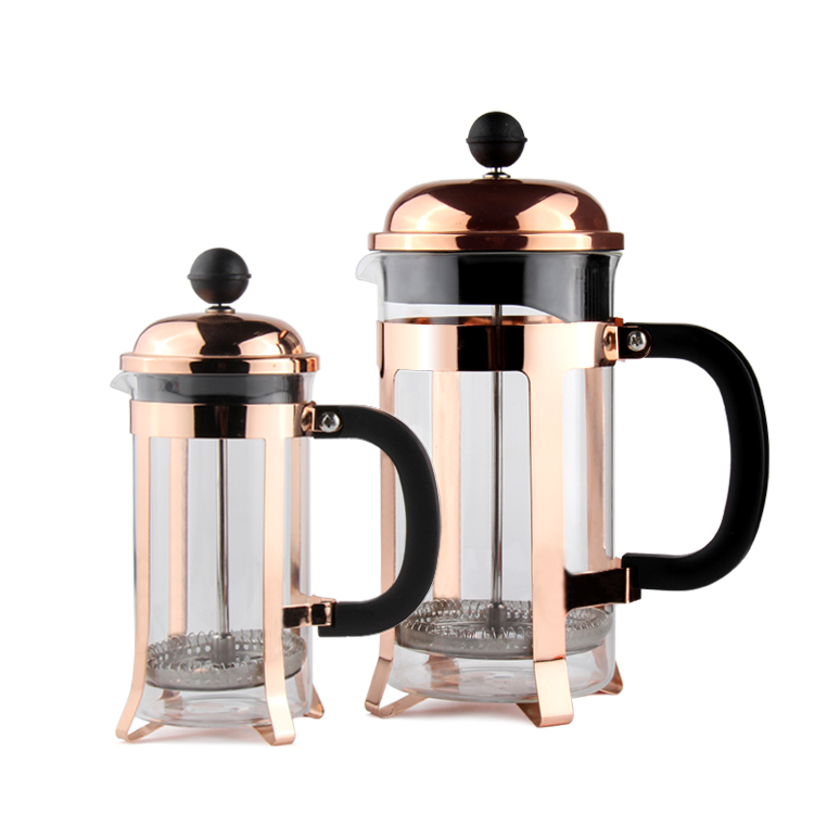 Wholesale 8 Cup Rose Gold Copper Stainless Steel French Press Coffee Maker