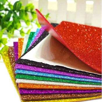 Diy Kids Craft A4 Self Adhesive Glitter Eva Foam Sheet Glitter Eva