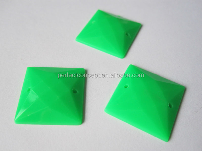 wholesale 20*20mm opaque neon green flat back square acrylic stones for bags clothes