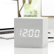 Antique design white open face digital type wooden kids clock quartz cold light table clock