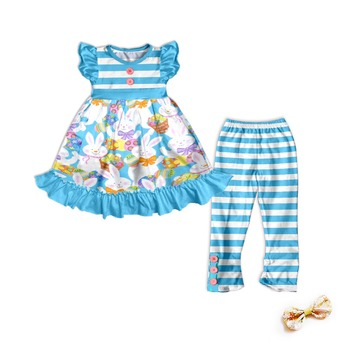 Spring kids boutique outfit Easter girl clothing set wholesale Remakes children's boutique Clothing Sets