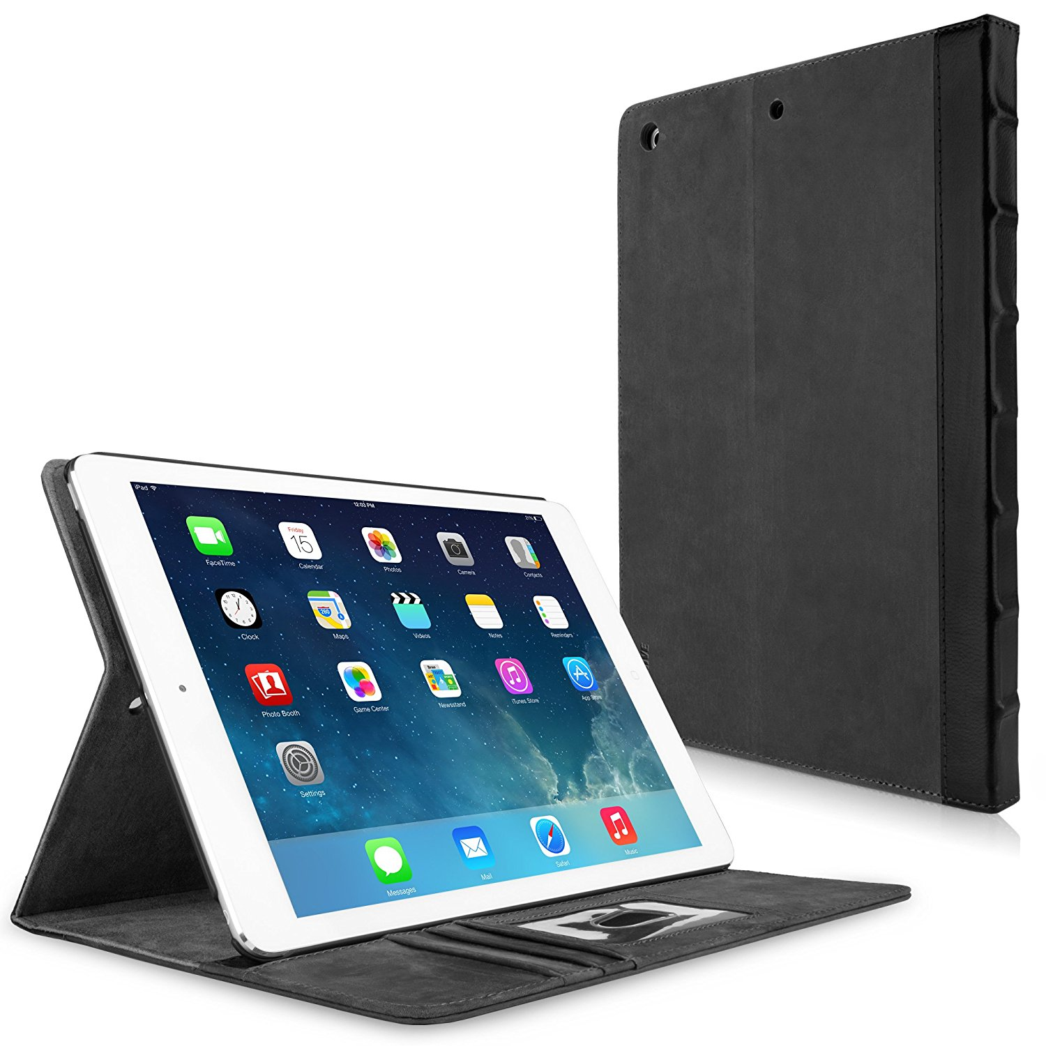 iPad Air Case, BoxWave® [Classic Book Case - Slate Grey] Vintage Book Design Wallet Cover for Apple iPad Air