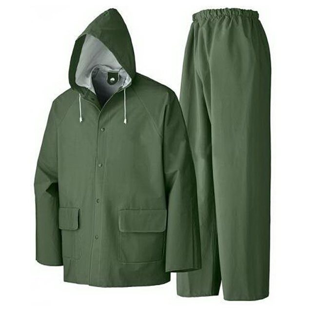 Custom Good Quality Polyester Black Colour Hooded Jacket Pants Set Outdoor Rain Suit