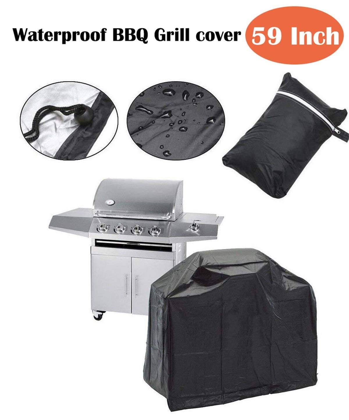 QueenA Upgraded BBQ Grill Cover 59 Inch, Grill Covers Heavy Duty Waterproof UV Protection Crack Resistant for Outdoor, Durable Barbecue Oxford Grill Cover for Most Brands of Grill
