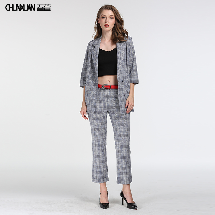 Women chic skinny-fit vintage gray tartan suit