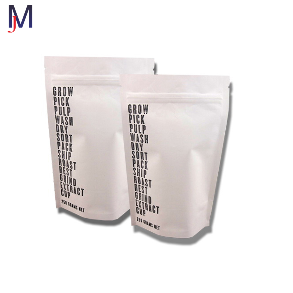 stand up food pouch white kraft paper zipper bag with custom logo china