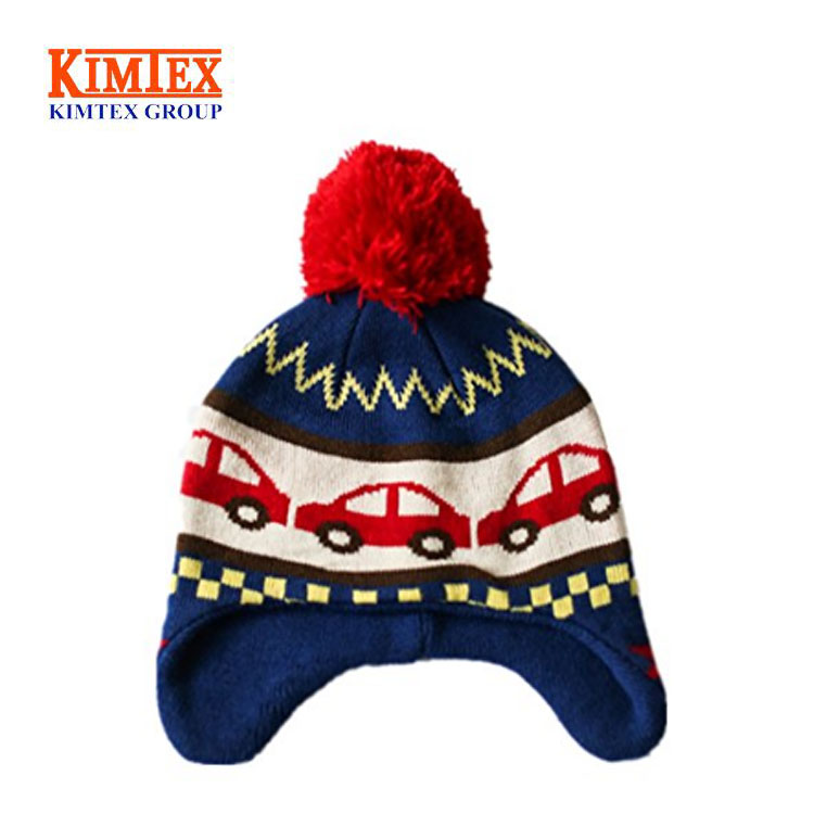 Youngsoul Baby Boys Girls Warm Winter Knitted Beanie Hat Double Faux Fur Pom Pom Bobble Cap