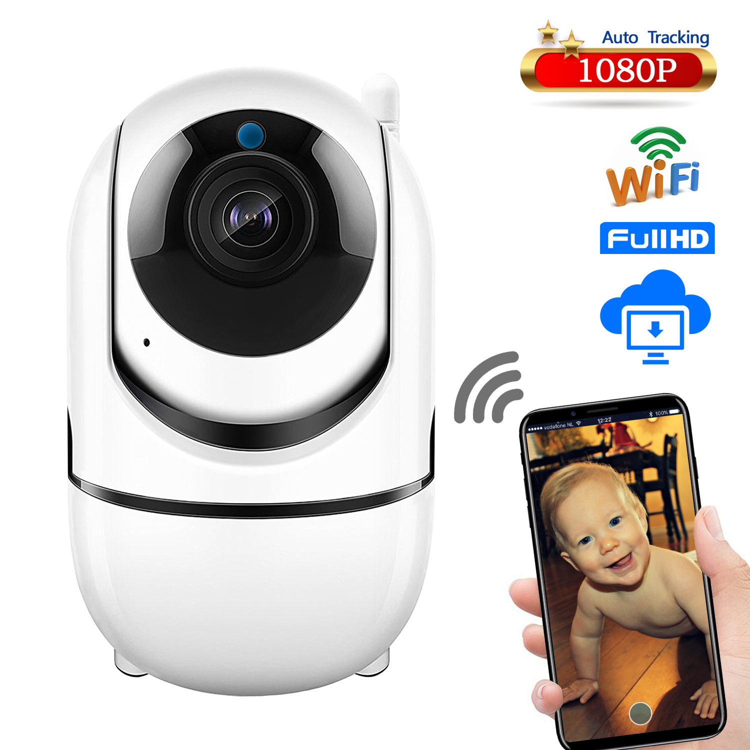 Home video baby monitor 1080 P wireless Rotante audio baby monitor Wifi ip baby monitor video