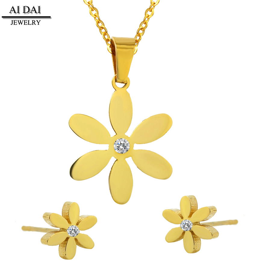wholesale mexican jewelry Fashion Six-Flower <strong>Set</strong>,Stainless Steel with 18K gold Vacuum Plated necklace earring fine jewelry <strong>sets</strong>