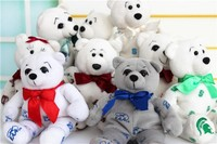 Wholesale Plush Toy White Teddy Bear with Printed Pattern/Soft Gift Toy Bear with Silk Bow/Stuffed Toy White Bear
