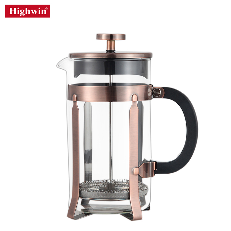 Highwin new release Stainless Steel and Borosilicate Glass Vintage Cpooer Coffee maker with  french press double mesh