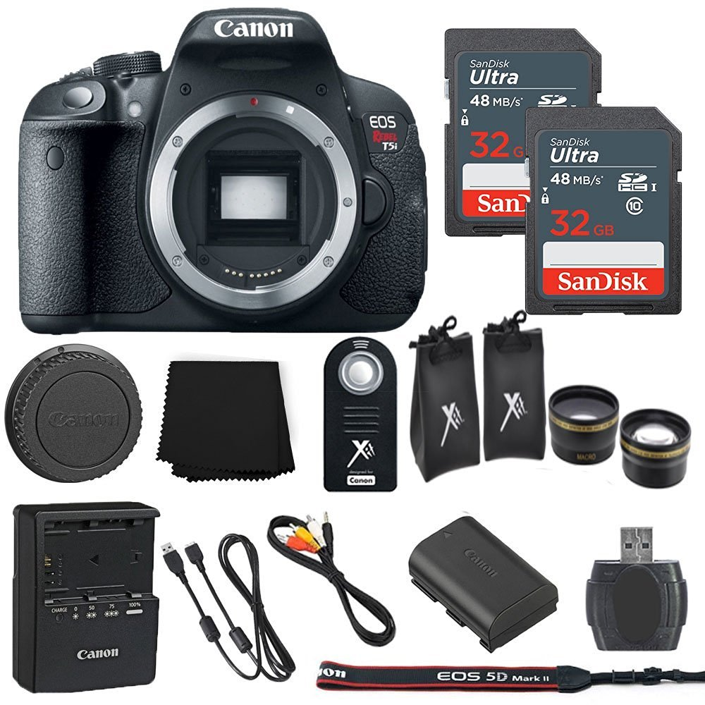 Canon EOS Rebel T5i 18MP Digital SLR Camera Body Only + 2 32GB Sandisk Ultra SD Cards + Macro and Wide Angle Auxiliary Lenses + Wireless Shutter Remote+ Memory Card Reader - International Model