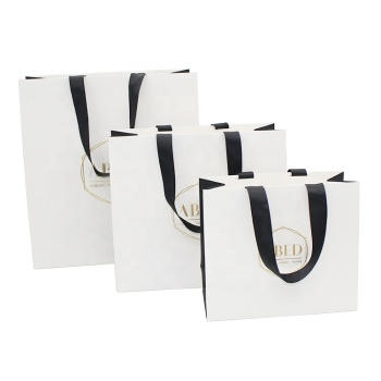 customized logo paperbag cardboard gold silver hot stamping packaging art paper bags with handle