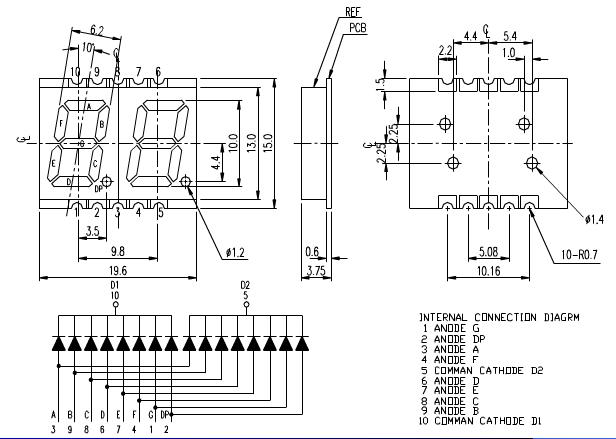0.39 inch 3 digit 7-segment smd led display 2 digits
