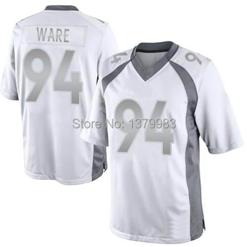 premium selection 43c7f 29097 94 DeMarcus Ware Jersey White Platinum Elite Stitched Jersey Embroidery  Logos Mixed Order Dropping Free Shipping Arrive To Door