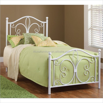2018 Design White Queen Size Iron Bed Frame Double Size Metal Frame
