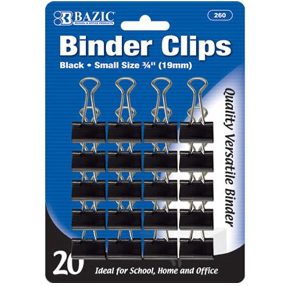 """BAZIC Small 3/4"""" (19mm) Black Binder Clip (20/Pack), Case Pack of 144"""