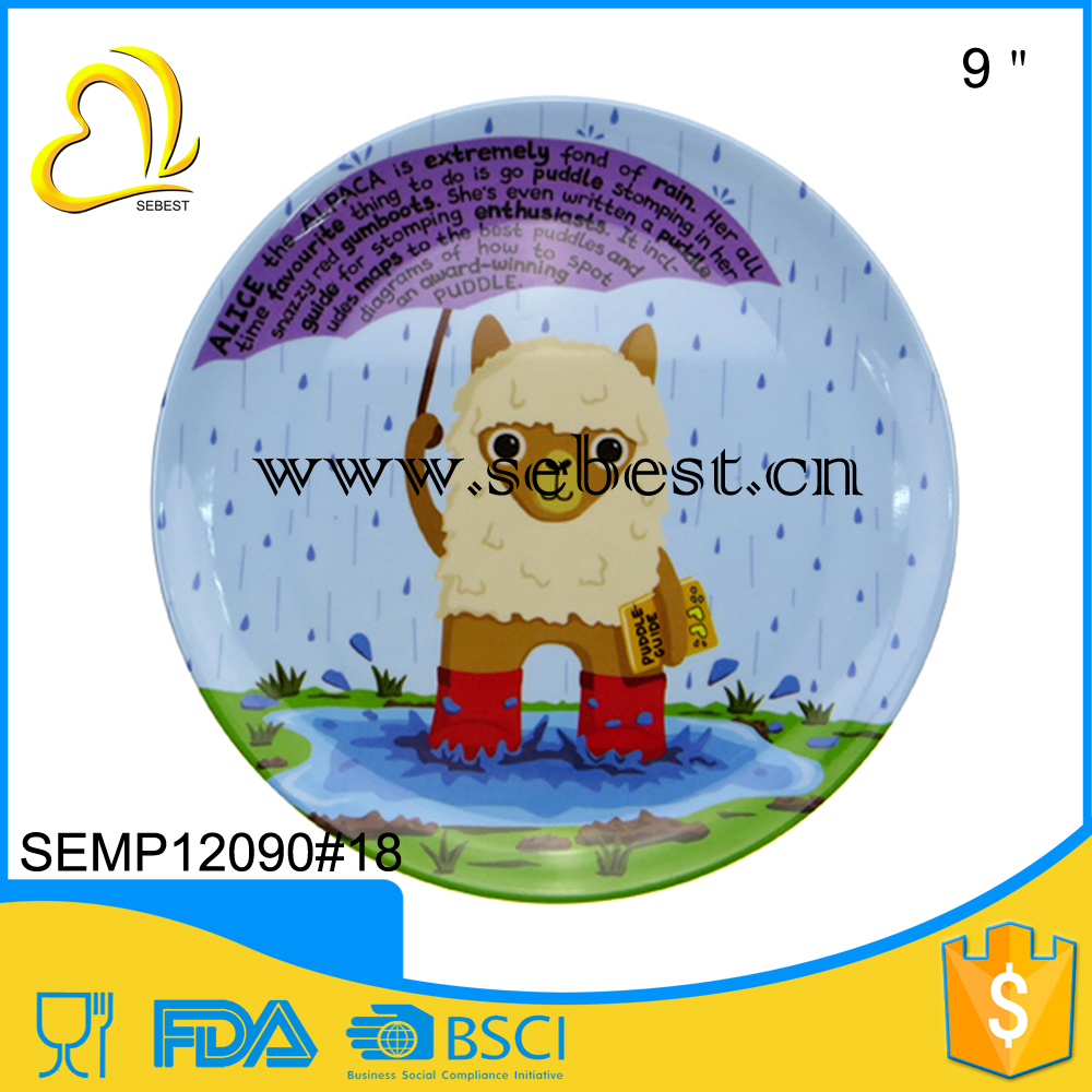 "wholesale hot selling melamine 9"" carton printing baby plate"