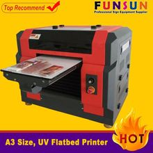 Funsunjet A3 size dx5 head 1440dpi water proof digital flatbed printer with uv curing ink uv printer