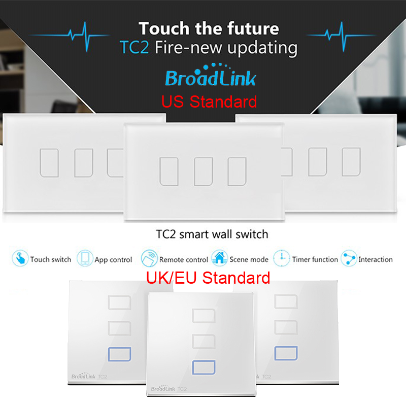 eu us uk standard broadlink 3 gang tc2 smart home automation remote wireless touch lamps switch. Black Bedroom Furniture Sets. Home Design Ideas