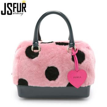 Black Spots Real Fur Material Cute Lady Hand Bag Rex Rabbit Fur Bags  Handbags For Women 5639cfebb0660