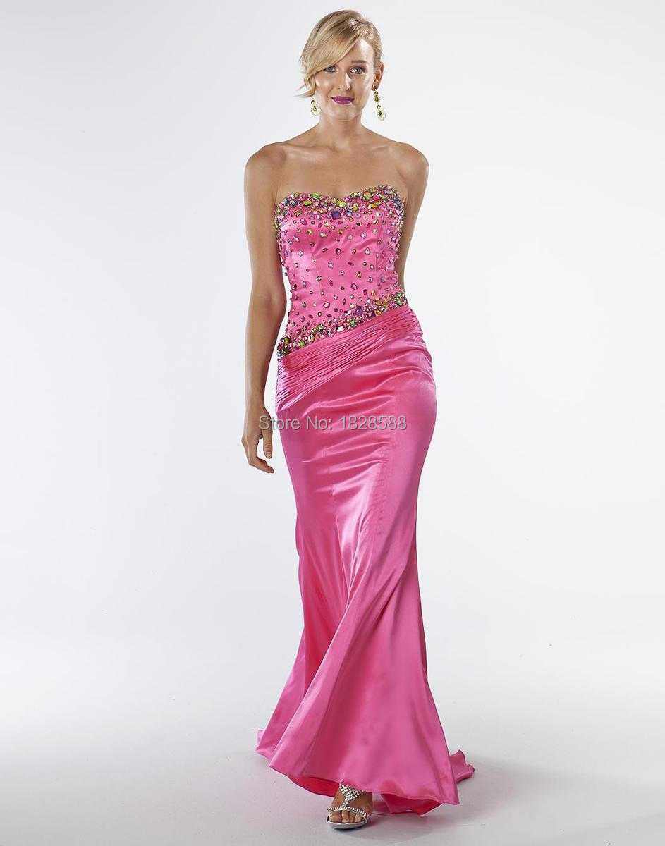 Red Carpet Catwalk Trends Sweetheart Mermaid Dress Pink Silk Hand-Beaded 2015 Evening Gown Trailing Material Bridal Dress
