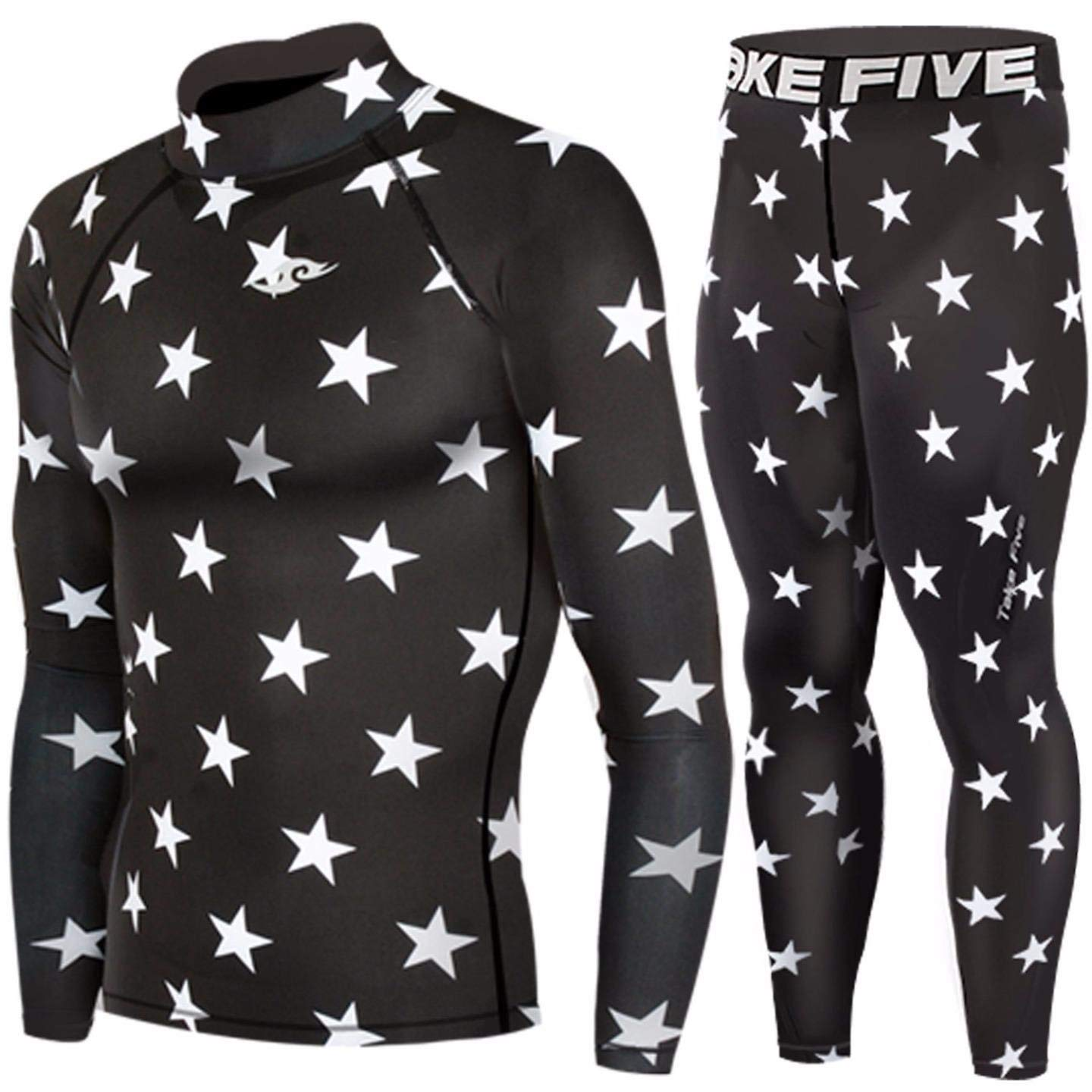 a63b5e777f Get Quotations · Skin Tight Compression Base Layer Under Shirt & Pants  Black Star Pattern SET